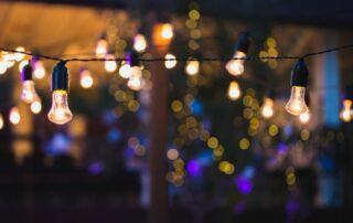 String lights in a lanai